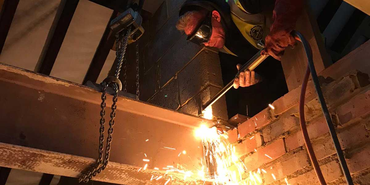 photo of a a BN Welder cutting steel